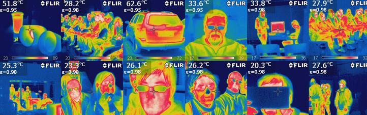 """Hier haben Schüler in einem DLR_School_Lab gleich mal etwas mit der Infrarot-Kamera """"gespielt"""" – mit ungewöhnliche Portraits als Ergebnis … Bilder: DLR"""