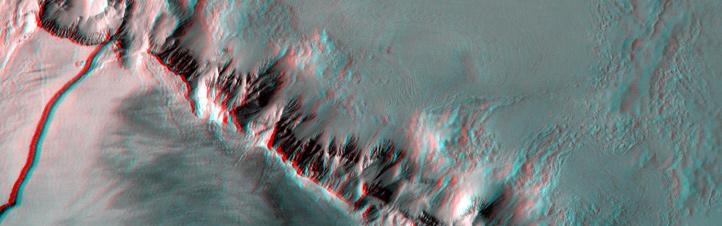 Mars-Landschaft in 3D: Mit einer Rot-cyan-Brille sieht man die Oberfläche ganz plastisch. Hier erkennt man, wie die Hänge des Vulkans Olympus Mons in die Tiefe abfallen. Bild: ESA, DLR, FU Berlin (G. Neukum)
