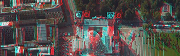 Der Reichstag in Berlin im 3D-Luftbild. Mit Brille kommt einem das Gebäude in 3D entgegen. Auch bei der Stadtplanung finden solche Luftbilder Anwendung.