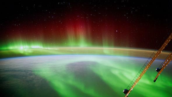 Polarlichter – gesehen von Bord der Internationalen Raumstation. Bild: NASA/ESA/Gerst
