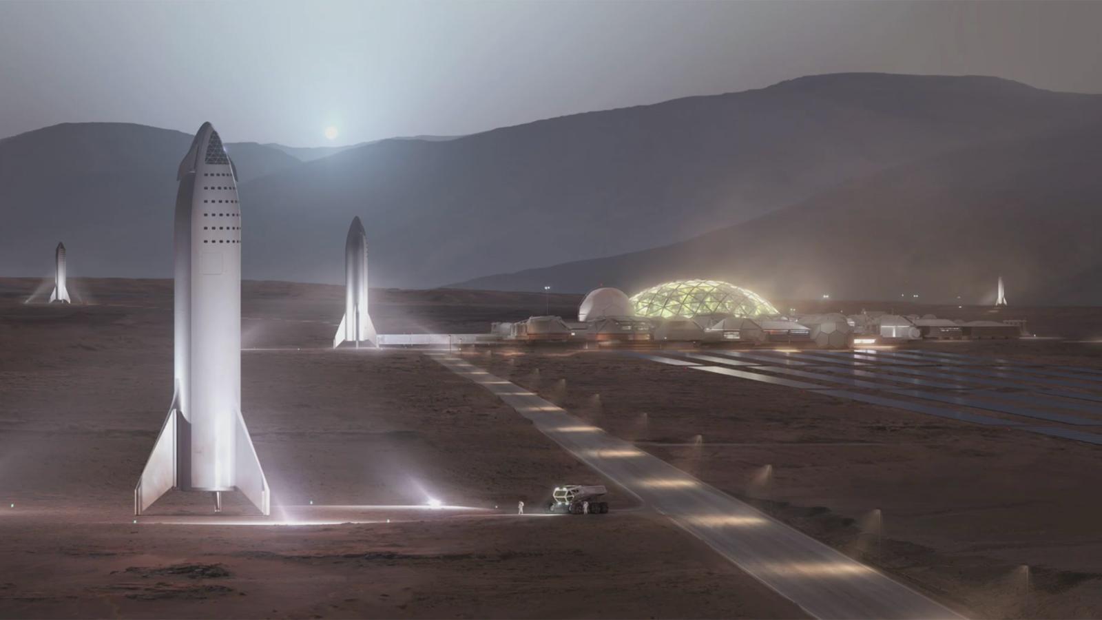 """So könnte eine künftige Mars-Kolonie nach den Plänen von Elon Musk aussehen. Links die Raumschiffe, mit denen die """"Siedler"""" dort landen sollen, rechts verschiedene Habitate. Künstlerische Darstellung: SpaceX"""