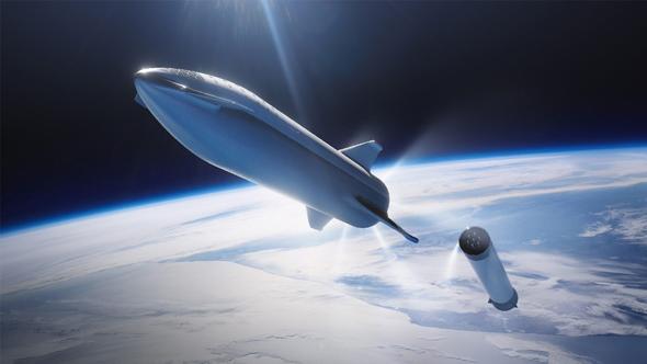 Links das Starship, das bis zu 100 Personen zum Mars bringen soll. Rechts schon auf dem Rückweg zur Erde die wiederverwendbare Unterstufe Super Heavy. Künstlerische Darstellung: SpaceX
