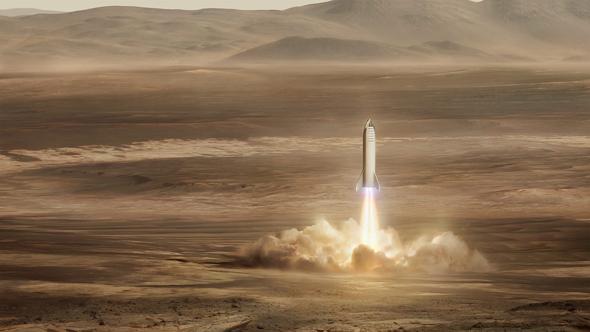 Rückstart vom Mars. Haben es sich da einige anders überlegt? Eigentlich ist das Ticket zum Roten Planeten ohne Rückflug gedacht. Künstlerische Darstellung: SpaceX