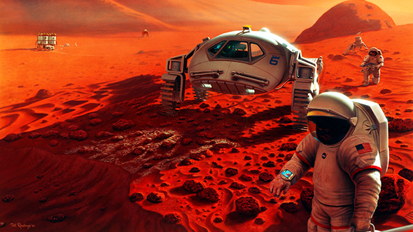 So könnte es aussehen, wenn Menschen den Mars erkunden. Bild: NASA, Pat Rawlings, SAIC