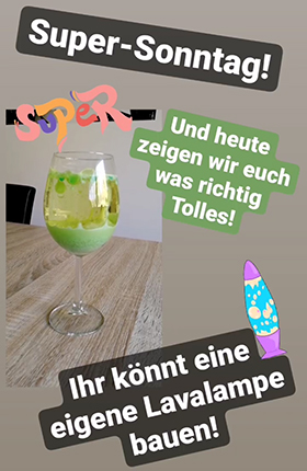 Experiment Lavalampe. Bild: Julia Thurner-Irmler, Uni Augsburg
