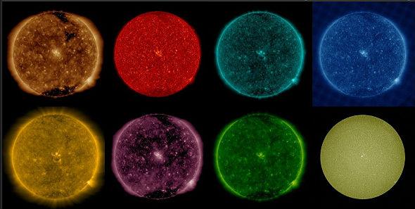 Übrigens gibt es auch technische Instrumente, die das Licht auffächern und in seine einzelnen Farben zerlegen. Damit untersuchen Fachleute zum Beispiel die Sonne. Sie sieht dann wie in diesen Bildern eines Satelliten aus, wo man ihr Licht mal in der einen und mal in der anderen Farbe sieht. Bilder: NASA, SDO