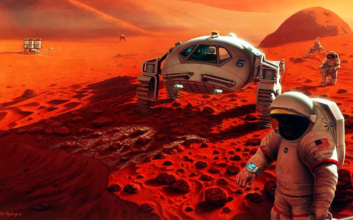 So könnte es eines Tages aussehen, wenn Menschen den Mars erkunden. Bild: NASA/Pat Rawlings, SAIC