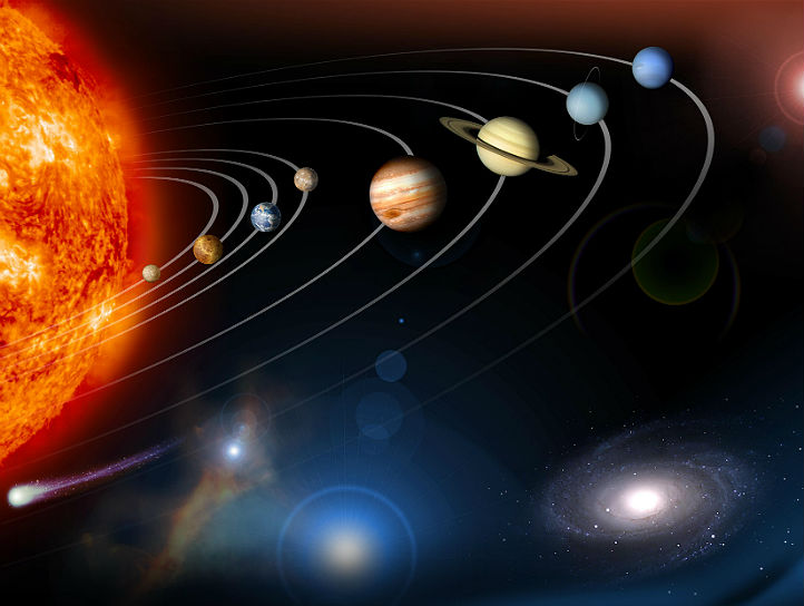 Hier wurden Aufnahmen der einzelnen Planeten zu einem Bild zusammengestellt. In Wirklichkeit sind die Planeten allerdings nicht so schön aufgereiht wie hier. Und so nah, wie es auf dieser Abbildung scheint, sind sie natürlich auch nicht nebeneinander. Bild: NASA, JPL