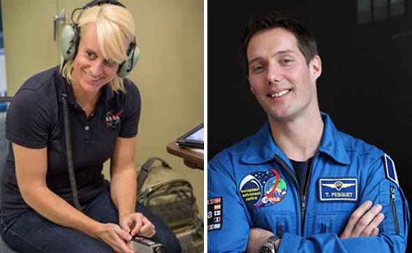 Kate Rubins (Bild NASA) und Thomas Pesquet (Bild: ESA) rufen Kinder dazu auf, bei Mission X mitzumachen.