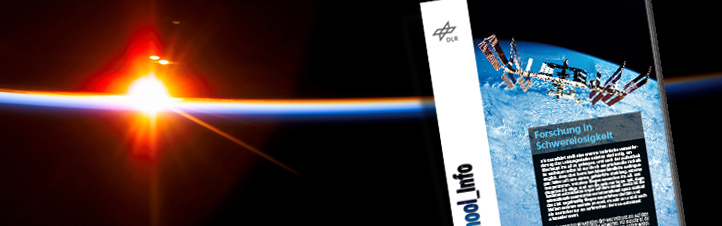 Die DLR_School_Info Raumfahrt erklärt unter anderem, warum Astronauten schweben und welche Fragen auf der Internationalen Raumstation ISS Gegenstand der Forschung sind. Bild: DLR