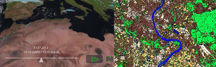 Mit den interaktiven Modulen können Schüler selbst Satellitenbilder bearbeiten und Wettervorhersagen machen. Bilder: Universität Bonn