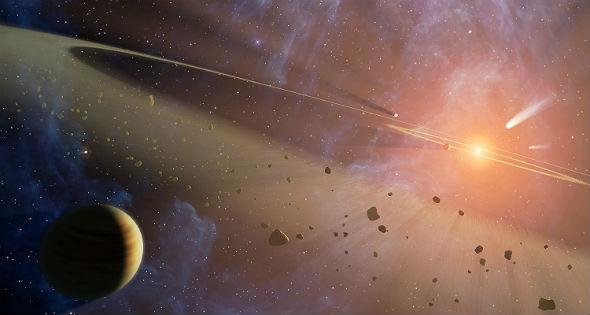"""So wie in dieser künstlerischen Darstellung (also kein Foto) kann man sich den Asteroidengürtel vorstellen. Manchmal werden diese kleinen """"Brocken"""" in Richtung Erde abgelenkt. Bild: NASA/JPL-Caltech"""
