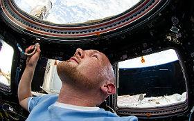 """Alexander Gerst schaut aus der ISS auf die Erde, die hier """"über"""" ihm zu sein scheint. Aber er müsste sich nur """"auf den Kopf"""" stellen und schon wäre die Erde """"unter"""" ihm. Bild: NASA, ESA"""