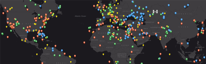 Diese interaktive Weltkarte führt zu den Aufnahmen der Erde, die Alex und Crew von der ISS aus gemacht haben. <br>Bild: NSCC
