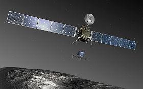 So ähnlich wie in dieser künstlerischen Darstellung hat es wohl ausgesehen, als Rosetta die kleine Landesonde Philae auf die Reise zum Kometen schickte. Bild: ESA-C. Carreau/ATG medialab
