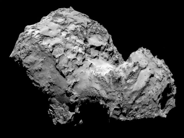 Dieses Bild zeigt den Kometen aus Sicht der Rosetta-Sonde am 3. August aus rund 280 Kilometern Distanz. Bild: ESA/Rosetta/MPS for OSIRIS Team MPS/UPD/LAM/IAA/SSO/INTA/UPM/DASP/IDA