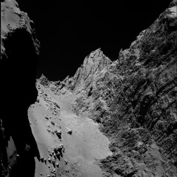 Nahaufnahme vom Kometen. Quelle: ESA/Rosetta/MPS for OSIRIS Team MPS/UPD/LAM/IAA/SSO/INTA/UPM/DASP/IDA