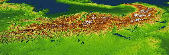 """Die Alpen als digitales Höhenrelief. Aus Satellitendaten, die die Erdoberfläche mit ihren Höhen und Tiefen """"abscannen"""", werden solche Geländemodelle erstellt. Bild: DLR"""