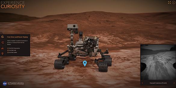 Interaktives Tool, mit dem du den Curiosity-Rover über eine virtuelle Mars-Landschaft steuern kannst. Bild: NASA/JPL