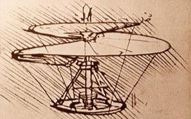 Die Skizze einer Luftschraube von Leonardo da Vinci. Bild: British Museum, London