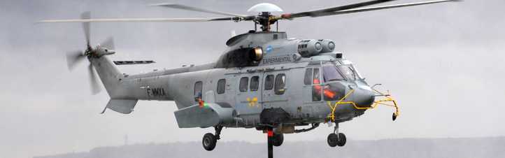 """Ein Hubschrauber kann nicht nur nach vorne und nach oben fliegen, sondern auch seitlich und rückwärts – oder in der Luft """"stehen"""". Bild: Eurocopter"""