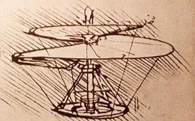 Entwurf eines Helikopters von Leonardo da Vinci. Bild: British Museum, London