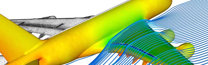 Die Computersimulation zeigt, wie die Luft über die Oberseite der Tragfläche strömt. Bild: DLR