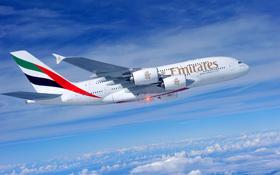 Ein A380 der Emirates Airlines im Flug. <BR>Bild: Airbus