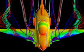 Hier wird das Strömungsverhalten eines neuen Flugzeugs im Rechner untersucht. Die Luftverwirbelungen erkennt man an den bunten Bändern, die wie Luftschlangen aussehen. Bild: DLR