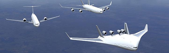 Künstlerische Darstellung von möglichen Flugzeug-Typen der Zukunft. Bild: Airbus