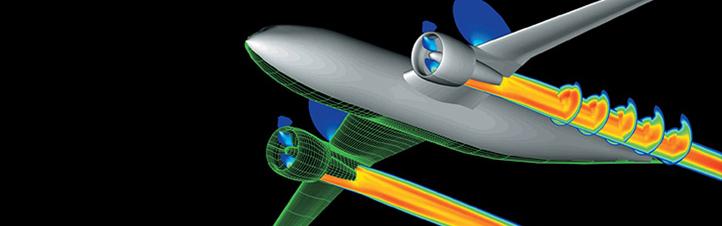 Neue Flugzeuge werden am Computer entworfen. Dabei erfährt man bereits viel über die künftigen Flugeigenschaften. Das Bild zeigt unter anderem die Druckverteilung hinter den Triebwerken. Bild: DLR