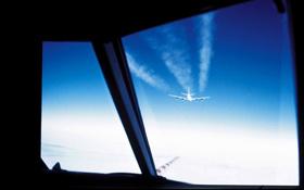 Messung von Abgasen hinter einem anderen Flugzeug. Bild: DLR