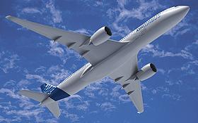 Beim neuen Airbus A350 werden Rumpf und Tragflächen aus kohlefaserverstärktem Kunststoff hergestellt. Bild: Airbus