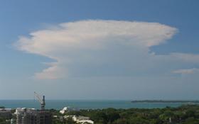Die Gewitterwolke sieht aus wie ein Amboss. Bild: DLR