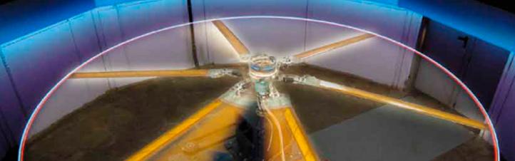 """Ein Hubschrauber-Rotor im Test. Wie man ihn leiser machen kann? DLR-Ingenieure kamen da auf einen verblüffenden Trick: mit """"Muskeln"""". Bild: DLR"""