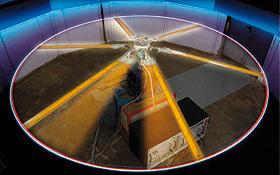 """Beim DLR wird an besonders leisen Hubschrauber-Rotoren geforscht. Hier einer der Tests für den Hubschrauber mit """"Muskeln"""". Bild: DLR"""
