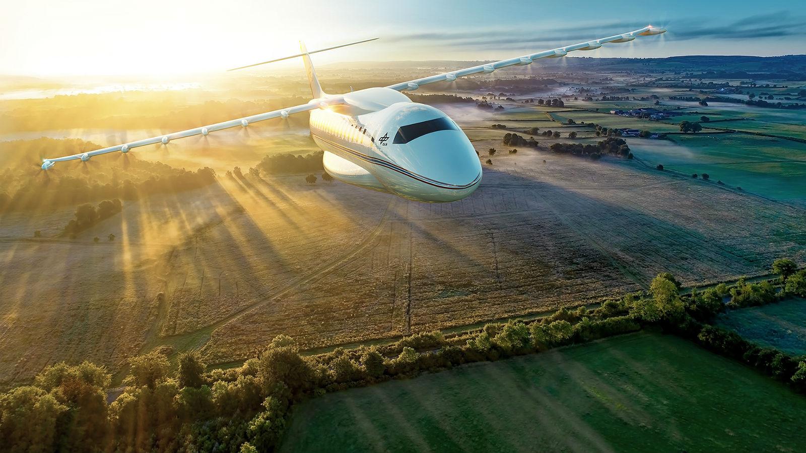 Wie kann man den Flugverkehr klimafreundlicher machen? Das DLR und viele Partner arbeiten mit Hochdruck daran. Hier einige Projekte. Bild: DLR
