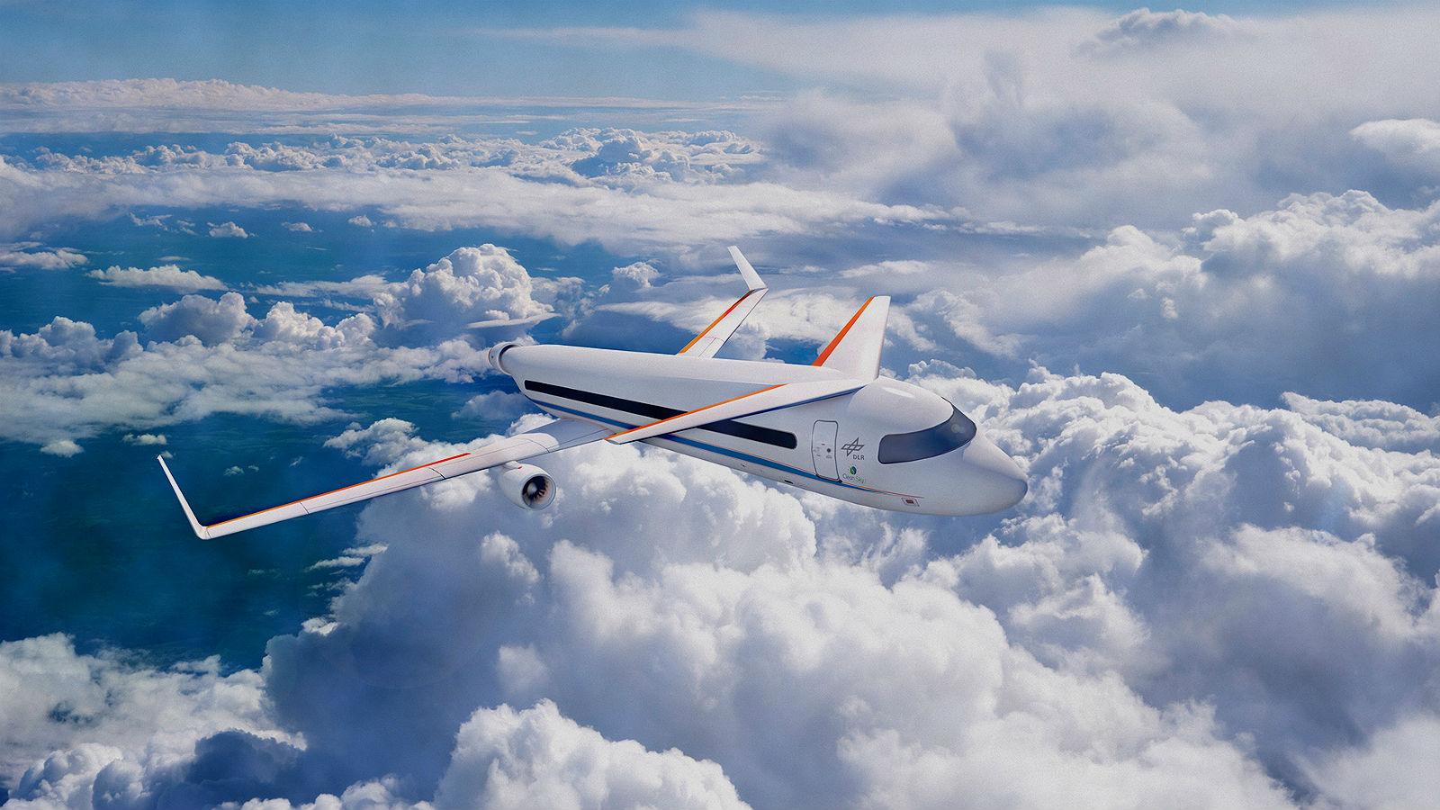 So wie in dieser Illustration könnte ein zukünftiges Flugzeug aussehen, das mit einem elektrischen Antrieb ausgestattet ist. Bild: DLR
