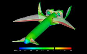 Entwurf eines besonders leisen Flugzeugs der Zukunft. Die Tragflächen und Leitwerke sind so geformt, dass sie den Schall abschirmen. So kommt weniger Lärm am Boden an.<BR>Bild: DLR