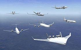Sehen so die Flugzeuge der Zukunft aus? Dies ist eine Montage verschiedener Entwürfe, die zurzeit diskutiert werden. <BR>Bild: Airbus