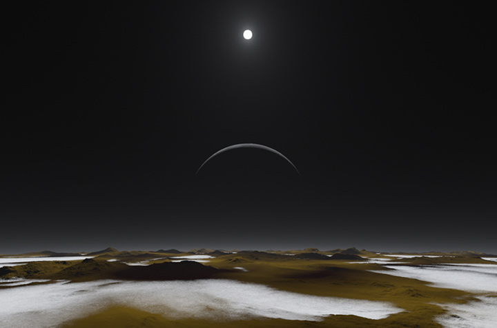 So kann man sich die Pluto-Oberfläche vorstellen – mit dem Mond Charon am Horizont. Bild: NASA