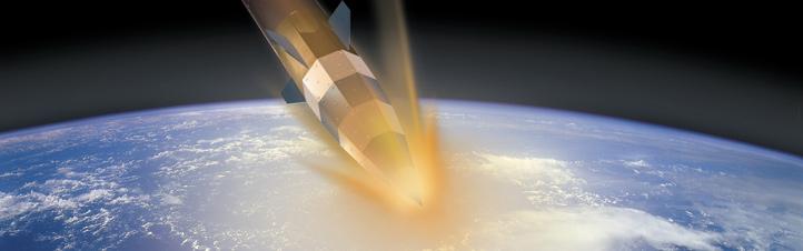 """In dieser künstlerischen Darstellung wird gezeigt, wie heiß es zugeht, wenn Kapseln oder Raumfahrzeuge in die Luftschichten der Erde """"eintauchen"""". Bild: DLR"""