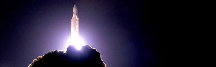 Start einer Ariane-Rakete.Bild: ESA, CNES, Arianespace