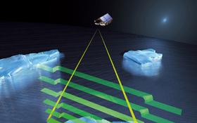 Der Satellit CryoSat-2 kann sogar die Dicke der Eismassen in den Polargebieten messen. Bild: ESA