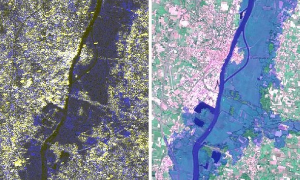 Beispiel für multitemporale Bilder: Das linke Bild stammt von Satelliten, die diesen Fluss in Frankreich vor und während eines Hochwassers aufgenommen haben. Rechts ist das alles in einer Karte zusammengefasst: dunkelblau erkennt man den Fluss, hellblau die überfluteten Gebiete. So weiß man, welche Bereiche vor der nächsten Flut besser geschützt werden müssen – zum Beispiel durch neue Deiche. Bilder: ESA, CNES, SERTIT