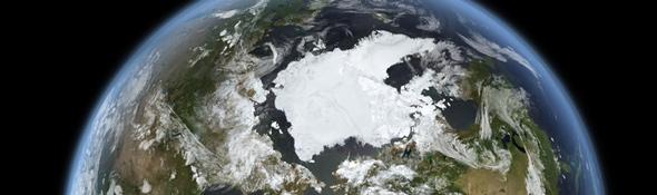 Schmelzendes Eis in der Arktis. Bild: DLR/DFD Daten: NSIDC, ACIA, NASA