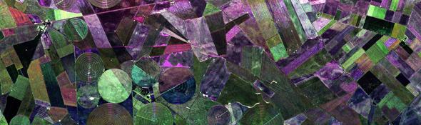 Bunte Felder: Im Radarbild kann man gut unterscheiden, welche Getreideart auf den Feldern wächst. In Falschfarben wird das angezeigt. Man muss dann nur noch wissen, welche Farbe zu welcher Pflanze gehört. Dazu testet man – wie hier – das Radar-Instrument mit Flugzeugen, bevor es an Bord eines Satelliten ins All geschossen wird. Bild: ESA, DLR