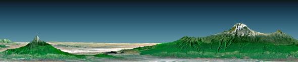 Die Berge von Tansania in Afrika. Solche Darstellungen nahezu aller Regionen der Erde sind mit den Daten von SRTM möglich. Sie zeigen nicht nur die Oberfläche der Erde an sich, sondern auch die Höhenverhältnisse einer Landschaft. Bild: DLR, NASA