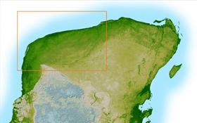 Die mexikanische Halbinsel Yucatan als sogenanntes Relief. Oben links sieht man im markierten Bereich eine leichte kreisrunde Vertiefung. Dies ist der Rand des 65 Millionen Jahre alten Kraters, der sich auf dem heutigen Meeresboden fortsetzt. Bild: DLR, NASA