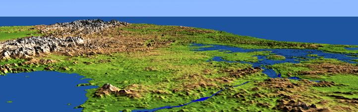 Ein digitales Geländemodell – also eine künstliche Ansicht der Erde, genauer hier von Panama. Die Daten für dieses und viele andere Bilder lieferte die SRTM-Mission. In der Mitte sieht man den berühmten Panama-Kanal. Bild: DLR, NASA